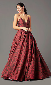 Image of long floral-print brocade prom dress by PromGirl. Style: PG-Z20566 Detail Image 2