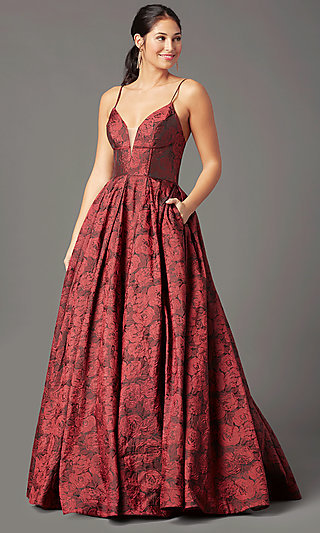 Long Floral-Print Brocade Prom Dress by PromGirl
