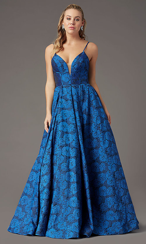 Image of long floral-print brocade prom dress by PromGirl. Style: PG-Z20566 Detail Image 6