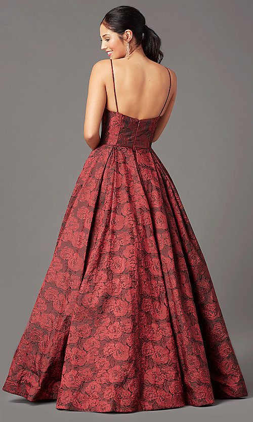 Image of long floral-print brocade prom dress by PromGirl. Style: PG-Z20566 Back Image