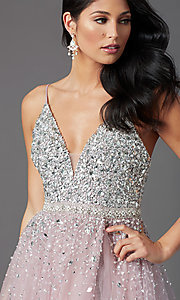 Image of beaded-bodice long mauve prom dress by PromGirl. Style: PG-Z20564 Detail Image 1