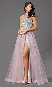 Image of beaded-bodice long mauve prom dress by PromGirl. Style: PG-Z20564 Detail Image 2