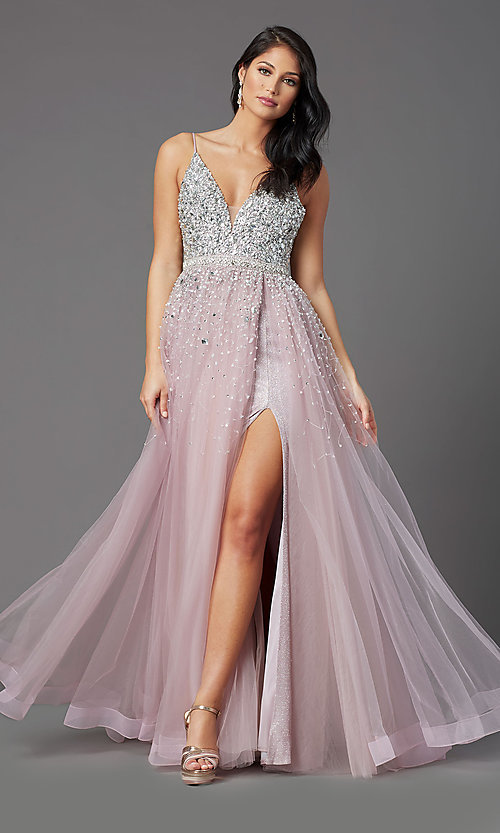 Image of beaded-bodice long mauve prom dress by PromGirl. Style: PG-Z20564 Front Image