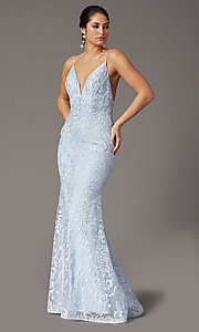 Image of long embroidered powder blue PromGirl prom dress. Style: PG-Z20555 Detail Image 1