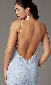 Image of long embroidered powder blue PromGirl prom dress. Style: PG-Z20555 Detail Image 2