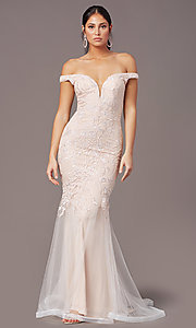Image of PromGirl long mermaid off-the-shoulder prom dress. Style: PG-Z20553 Front Image