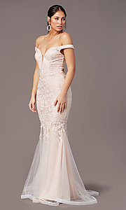 Image of PromGirl long mermaid off-the-shoulder prom dress. Style: PG-Z20553 Detail Image 2