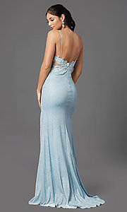 Image of electric blue long formal prom dress by PromGirl. Style: PG-Z20535 Back Image