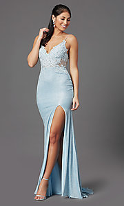 Image of electric blue long formal prom dress by PromGirl. Style: PG-Z20535 Detail Image 2