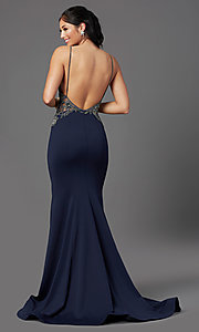 Image of beaded-bodice navy long prom dress by PromGirl. Style: PG-Z20530 Back Image