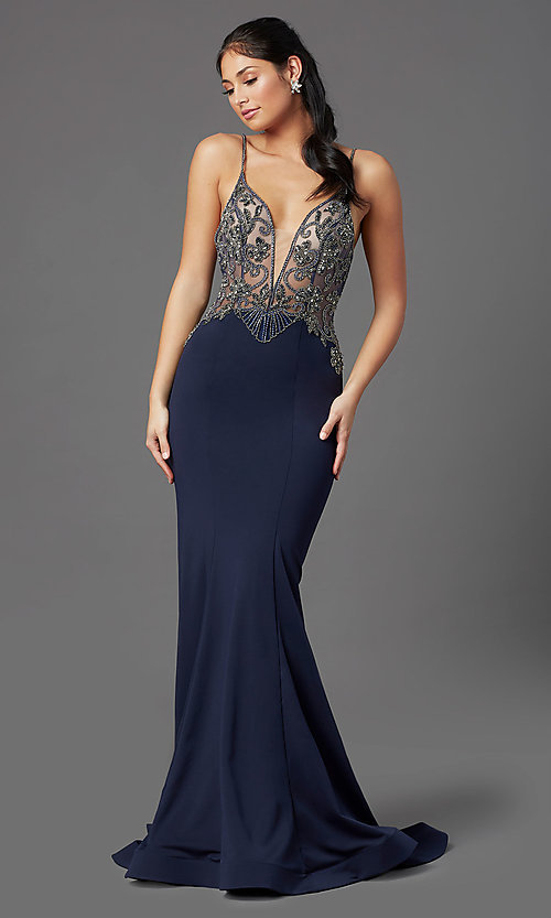 Image of beaded-bodice navy long prom dress by PromGirl. Style: PG-Z20530 Detail Image 2