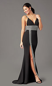 Image of rhinestone-trimmed long black prom dress by PromGirl. Style: PG-F2035 Detail Image 2