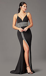 Image of rhinestone-trimmed long black prom dress by PromGirl. Style: PG-F2035 Front Image