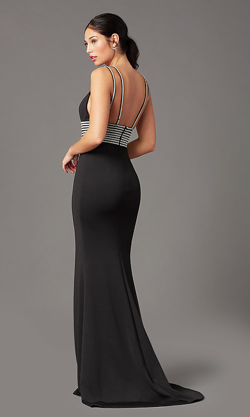 Image of rhinestone-trimmed long black prom dress by PromGirl. Style: PG-F2035 Back Image