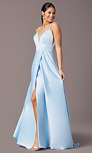 Image of PromGirl long satin formal prom dress with pockets. Style: PG-B2006 Detail Image 3