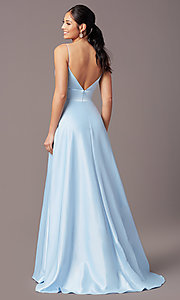 Image of PromGirl long satin formal prom dress with pockets. Style: PG-B2006 Detail Image 4