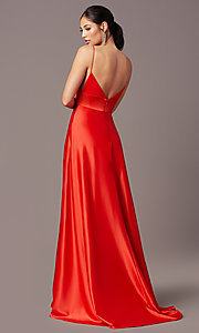 Image of PromGirl long satin formal prom dress with pockets. Style: PG-B2006 Back Image