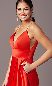 Image of PromGirl long satin formal prom dress with pockets. Style: PG-B2006 Detail Image 1