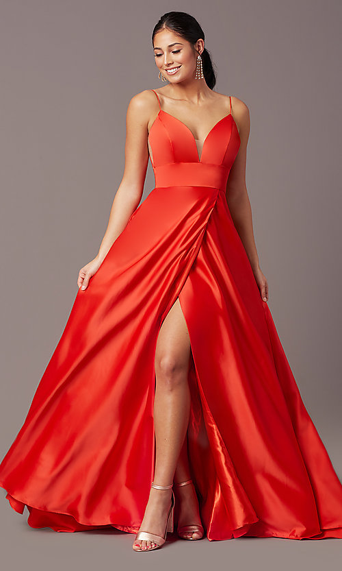 Image of PromGirl long satin formal prom dress with pockets. Style: PG-B2006 Front Image