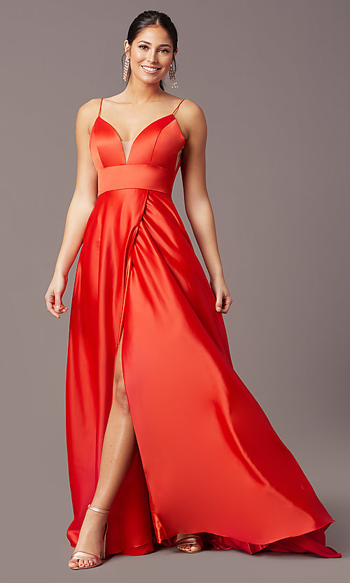 Image of PromGirl long satin formal prom dress with pockets. Style: PG-B2006 Detail Image 2