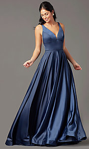 Image of a-line v-neck long satin prom dress by PromGirl. Style: PG-B2007 Detail Image 2