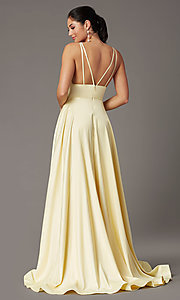 Image of a-line v-neck long satin prom dress by PromGirl. Style: PG-B2007 Detail Image 7