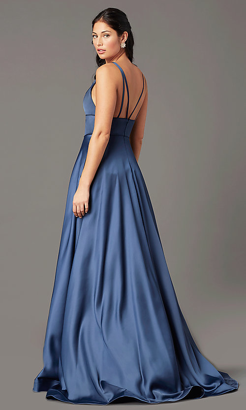 Image of a-line v-neck long satin prom dress by PromGirl. Style: PG-B2007 Detail Image 3