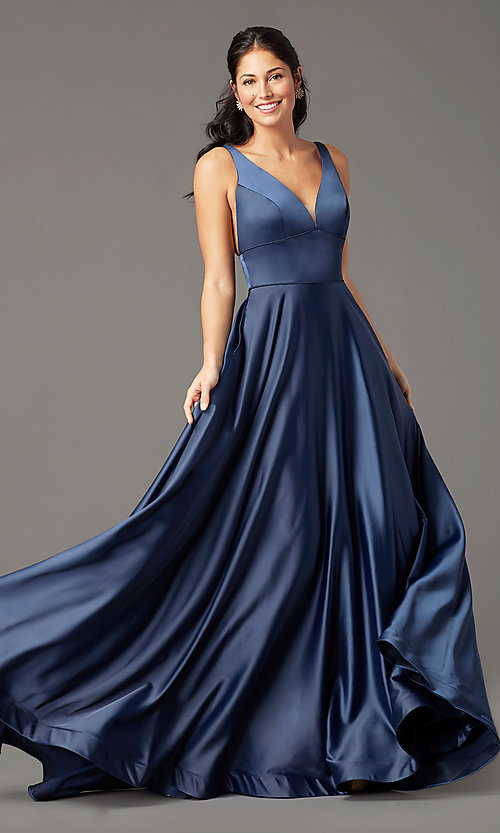 Image of a-line v-neck long satin prom dress by PromGirl. Style: PG-B2007 Detail Image 5
