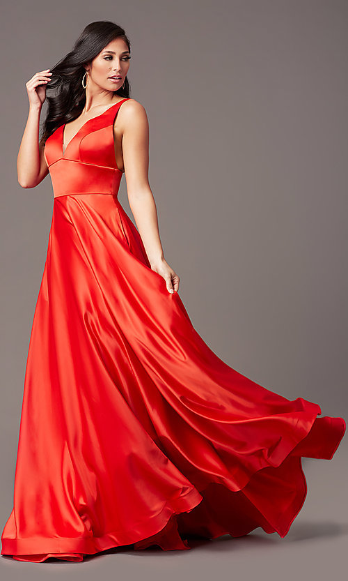 Image of a-line v-neck long satin prom dress by PromGirl. Style: PG-B2007 Front Image