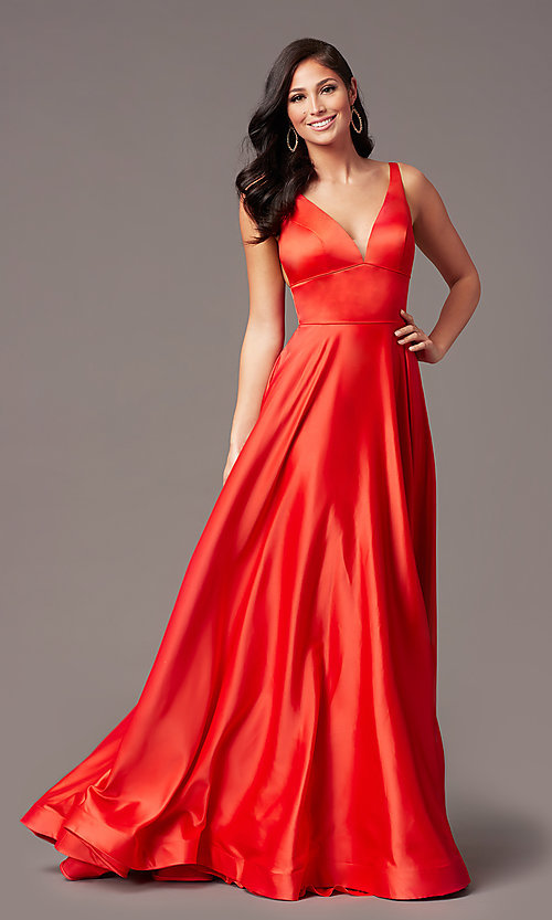 Image of a-line v-neck long satin prom dress by PromGirl. Style: PG-B2007 Detail Image 1