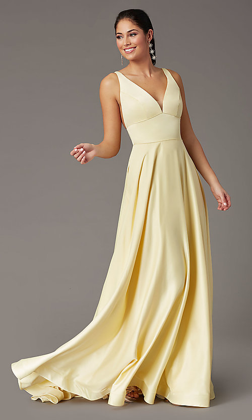 Image of a-line v-neck long satin prom dress by PromGirl. Style: PG-B2007 Detail Image 6