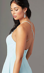 Image of long chiffon square-neck prom dress by PromGirl. Style: PG-B2011 Detail Image 2