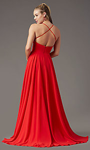 Image of long chiffon square-neck prom dress by PromGirl. Style: PG-B2011 Detail Image 8