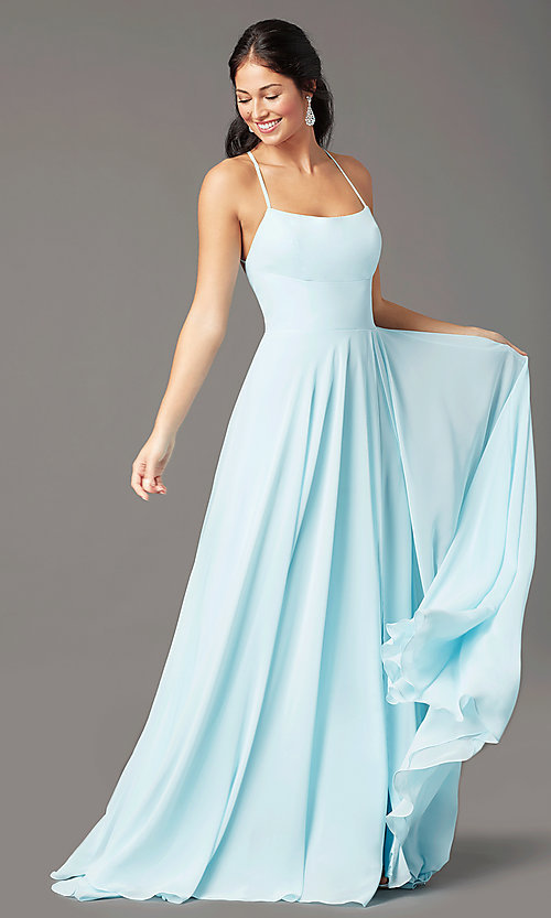 Image of long chiffon square-neck prom dress by PromGirl. Style: PG-B2011 Front Image