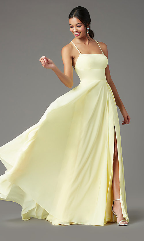 Image of long chiffon square-neck prom dress by PromGirl. Style: PG-B2011 Detail Image 3