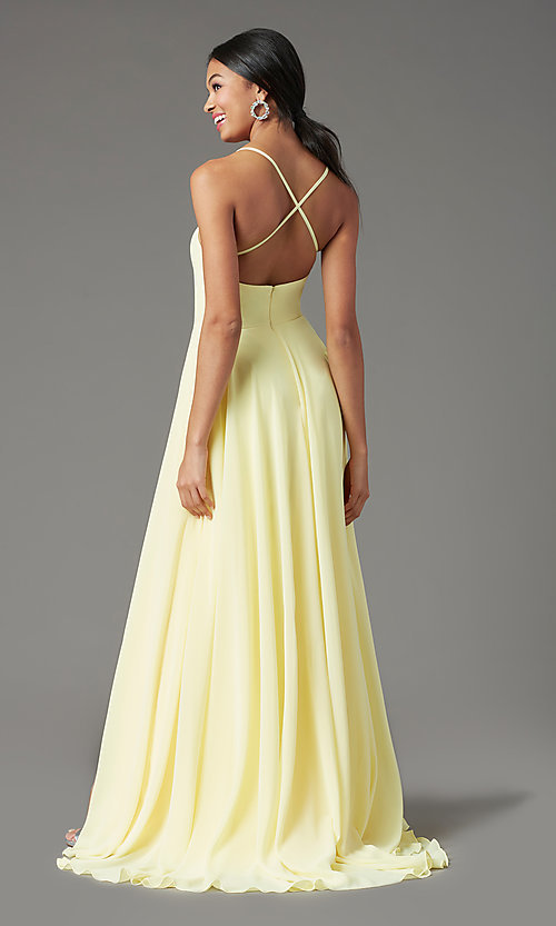 Image of long chiffon square-neck prom dress by PromGirl. Style: PG-B2011 Back Image