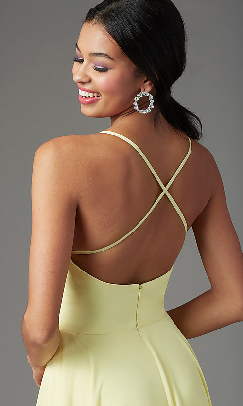 Image of long chiffon square-neck prom dress by PromGirl. Style: PG-B2011 Detail Image 1