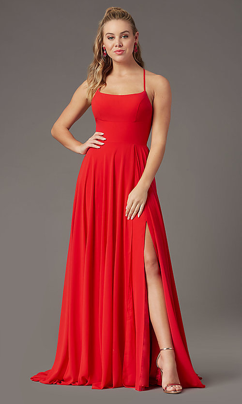 Image of long chiffon square-neck prom dress by PromGirl. Style: PG-B2011 Detail Image 7