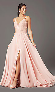 Image of long chiffon a-line prom dress by PromGirl. Style: PG-B2012 Detail Image 6