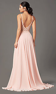 Image of long chiffon a-line prom dress by PromGirl. Style: PG-B2012 Detail Image 7