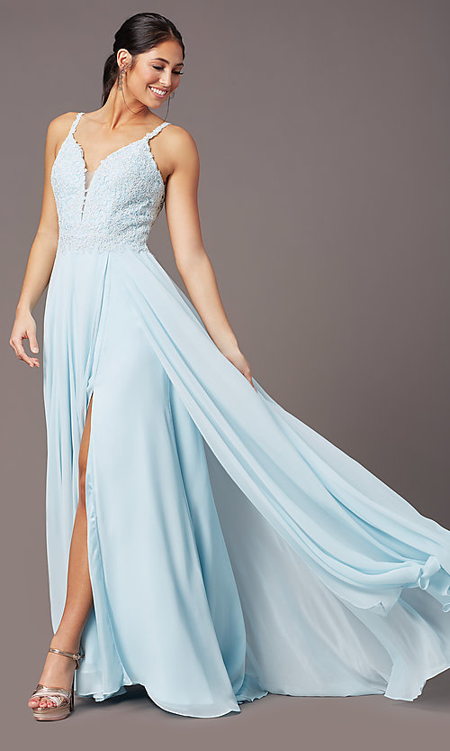 Image of long chiffon a-line prom dress by PromGirl. Style: PG-B2012 Front Image