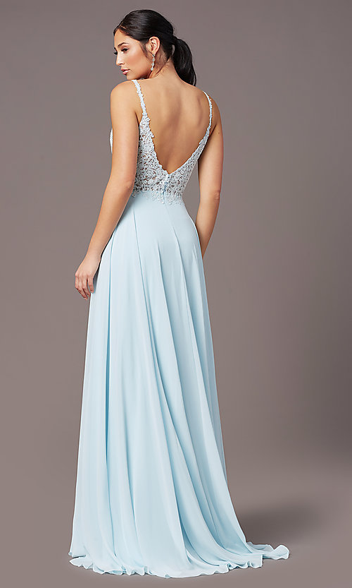 Image of long chiffon a-line prom dress by PromGirl. Style: PG-B2012 Back Image