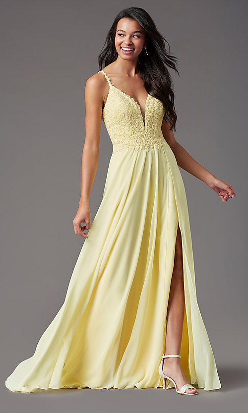 Image of long chiffon a-line prom dress by PromGirl. Style: PG-B2012 Detail Image 2