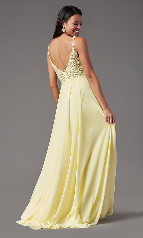 Image of long chiffon a-line prom dress by PromGirl. Style: PG-B2012 Detail Image 3