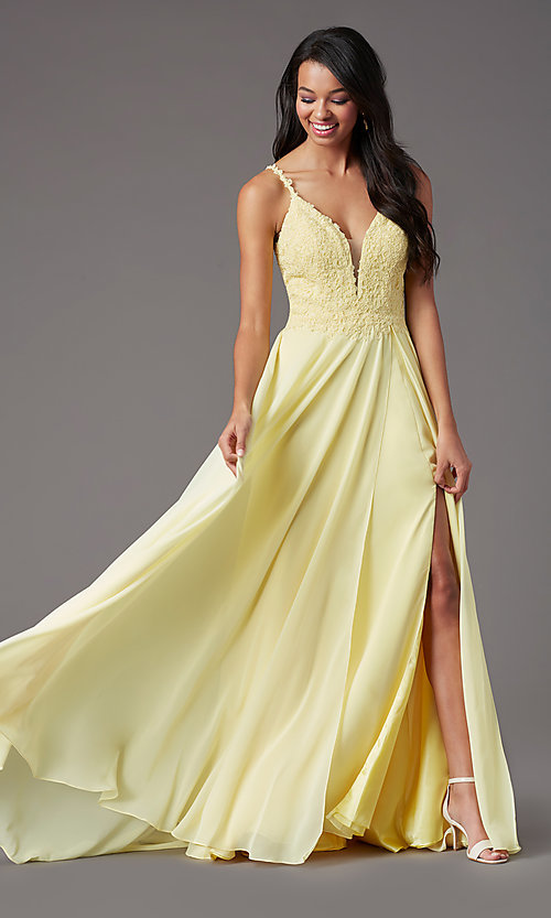 Image of long chiffon a-line prom dress by PromGirl. Style: PG-B2012 Detail Image 5