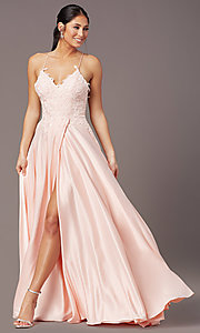 Image of PromGirl lace-bodice long satin formal prom dress. Style: PG-B2013 Front Image
