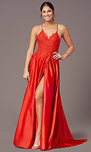 Image of PromGirl lace-bodice long satin formal prom dress. Style: PG-B2013 Detail Image 6