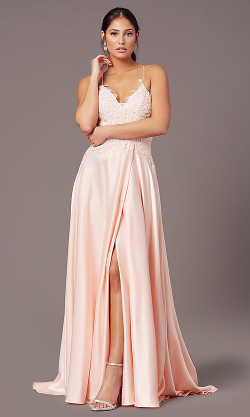 Image of PromGirl lace-bodice long satin formal prom dress. Style: PG-B2013 Detail Image 2