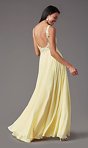 Image of PromGirl long formal prom dress with beaded bodice. Style: PG-B2014 Detail Image 4