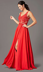 Image of PromGirl long formal prom dress with beaded bodice. Style: PG-B2014 Detail Image 2